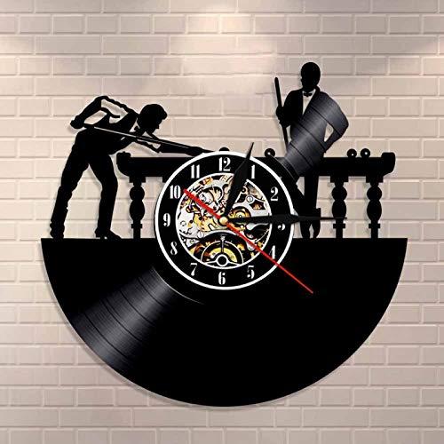 YINU Reloj de Pared Personalizado para Jugador de Billar, Billar único, Billar, Sala de Billar, decoración de habitación, Reloj de Vinilo para Hombre, Regalo de Cueva