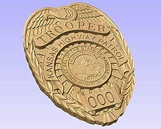 Kansas Highway Patrol Trooper Badge - 3D V CARVED - Personalized Police Badge V Carved Wood Sign