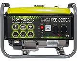 Groupe électrogène à essence KSB 2200A, puissance maximale 2200W, démarrage manuel, puissance moteur 5,5 CV, régulateur AVR, voltmètre, 2x16A (230V), sortie 12V, alternateur en aluminium