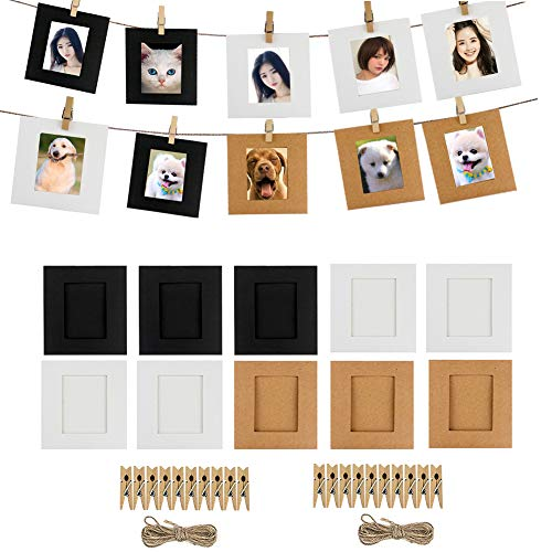 Cpano 20PCS Wall Decor Paper Hanging photo film telaio per Fujifilm INSTAX mini 8 7s 8 + 9 25 26 50s 90 pellicole Polaroid & Name card (nero / bianco / marrone)
