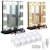 Kohree Lumière de Miroir Ampoule Hollywood 10 LEDs Dimmable par Port USB avec 3 Modes de Couleur pour Miroir Cosmétique Courtoisie - Miroir Non Conclu