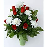 Spring-Cemetery-Cone-Arrangement-White-Mums-Red-Roses