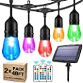 2-Pack 48FT Solar Outdoor RGB String Lights, Color Patio LED String Light with 30+5 E26 Shatterproof Edison Bulb Dimmable, Commercial Light String for Cafe Backyard Christmas Party, 3 Remote, 96FT