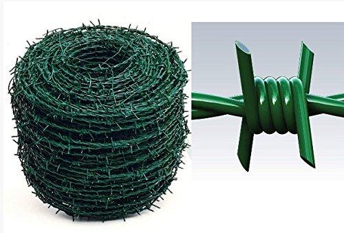 ITALFROM Alambre espino galvanizado plastificado Verde para Vallas de Malla metálica Bobina 100MT Cod.2201