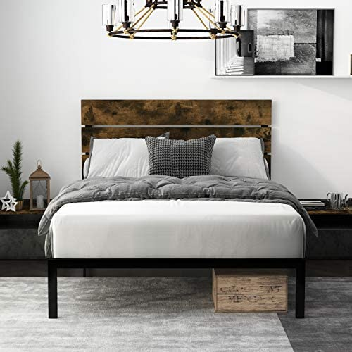 Einfach Rustic Platform Metal Bed Frame with Wooden Headboard and Footboard Mattress Foundation product image