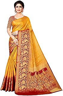 Neerav Exports Banarasi Kanjivaram Soft Silk With Rich Pallu Traditional Jacquard Saree (Yellow)
