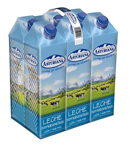 Central Lechera Asturiana Leche Semidesnatada - Paquete de 6 x 1000 gr - Total: 6000 gr