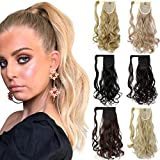 Ponytail Extension Clip in 18 20 Inch Long Wavy Straight Wrap Around Pony Tail One Piece Jaw/Claw Hairpiece for Women Grils Dark Black