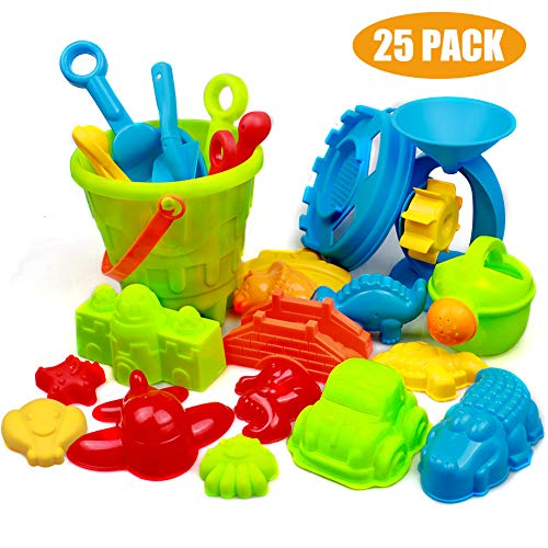 Swonuk 25 Stück Bunt Strand Sandspielzeug Set mit Netzbeutel, Strand Sandspielzeug Kinder -Kinderspielset - Enthält Kipper, Sandrad, Schaufeln, Rechen, Gießkanne, Sandspielzeug für Jungen und Mädchen