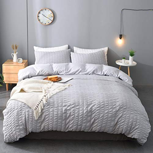 M&Meagle 3 Pieces Grey Duvet Cover Textured Set with Zipper Closure,100% Washed Microfiber Seersucker Fabric,Luxury Hotel Quality Bedding-Queen Size(1 Duvet Cover 2 Pillowcases)