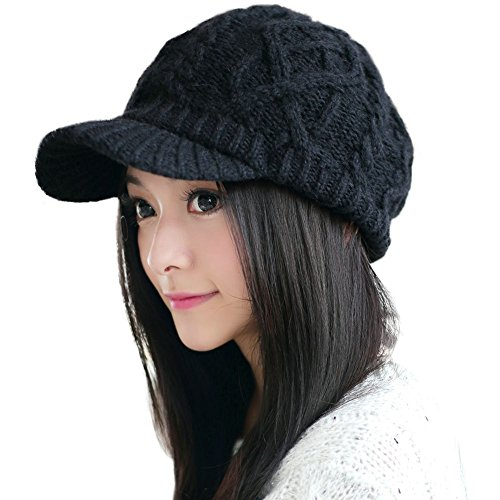 Comhats Wool Thick Knit Winter Hat for Women Newsboy Snow Cap Billed Beanie with Brim Black