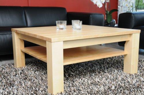 Holz-Projekt-Summer Couchtisch Ahorn 80x80 cm mit Ablage/Echtholz/Massivholz/Höhe 42 cm