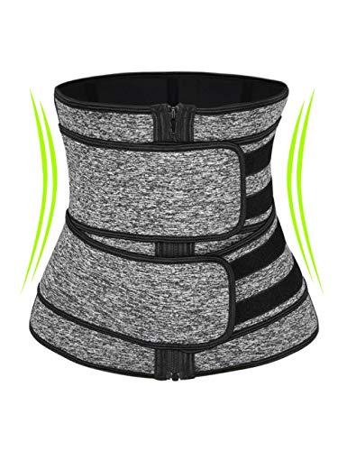 coastal rose Women Waist Trainer Belt Waist Trimmer Slimming Body Shaper Sports Girdles Workout Belt Black Grey M