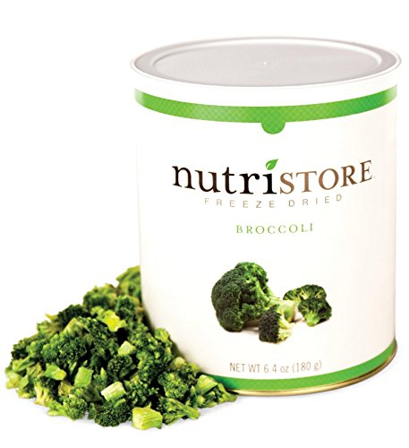Nutristore Freeze Dried Broccoli | 20 Servings | 5.64 OZ | 25 Year Shelf Life | Amazing Taste | Healthy Snack | Emergency and Survival Food