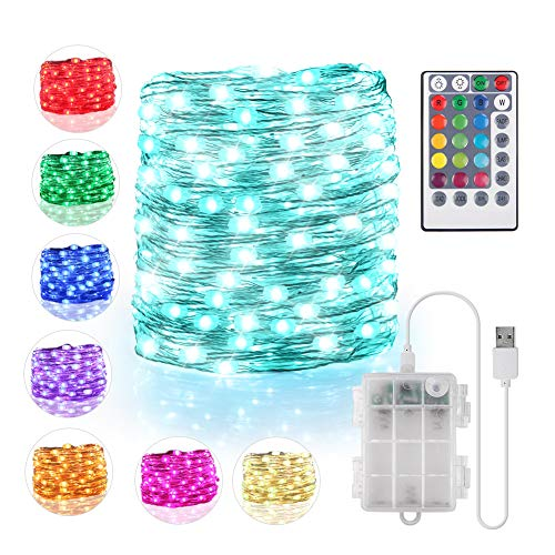 of battery electric strings 16 Color String Lights Battery Operated & USB Powered, 16.4ft 50 LED Fairy Lights with Remote Timer Waterproof Silver Wire Twinkle Lights for Room Garden Patio Party Indoor Outdoor Decor(132 Modes)