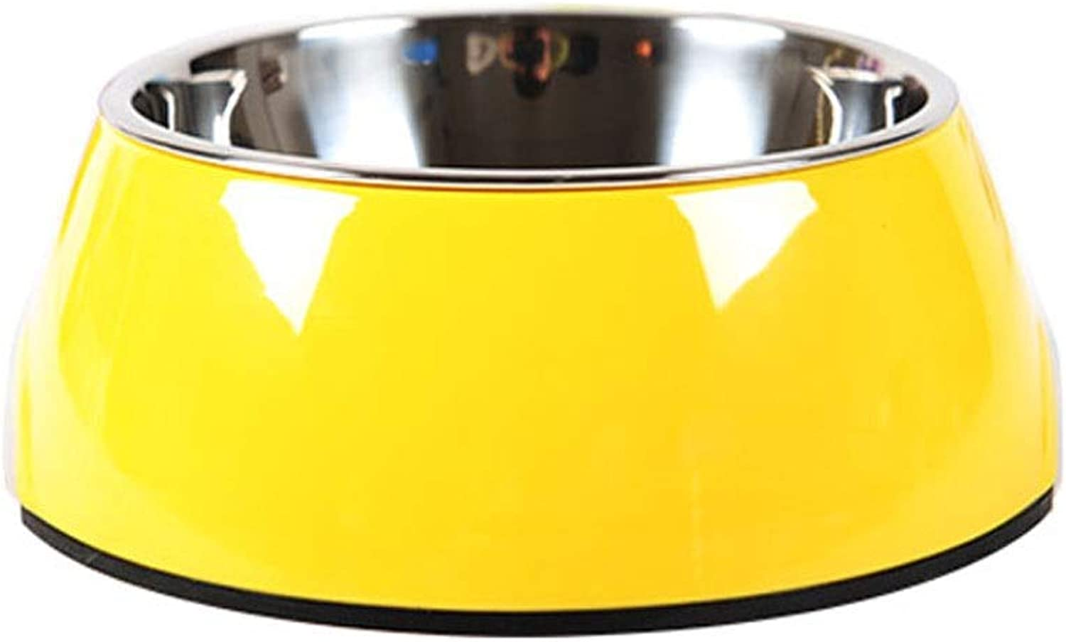 Stainless Steel Animals Dog Bowl Travel Food Bowls for Cats Dogs Pink Outdoor Drink Water Pet Dog Dish Feeder Tableware (Colore:Yellow, Size: XL)