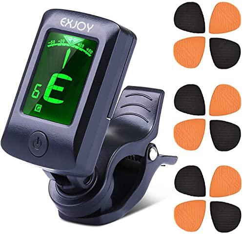 Accordatore Chitarra Clip Digitale EXJOY Tuner Elettrici di Alta Sensibilità con 5 Modalità, 12 Plettri per Chitarra, Adatto per Chitarra, Basso, Violino, Ukulele, Cromatico