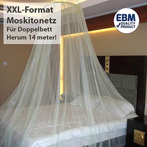 XXL-formaat tweepersoonsbed klamboe Flystopper, XXL muggennet incl. ophangkoord, bedhemel, muggenbescherming, muggenbescherming, insectenbescherming ook op reis, insectennet maat XXL 250 x 60 x 1400 cm