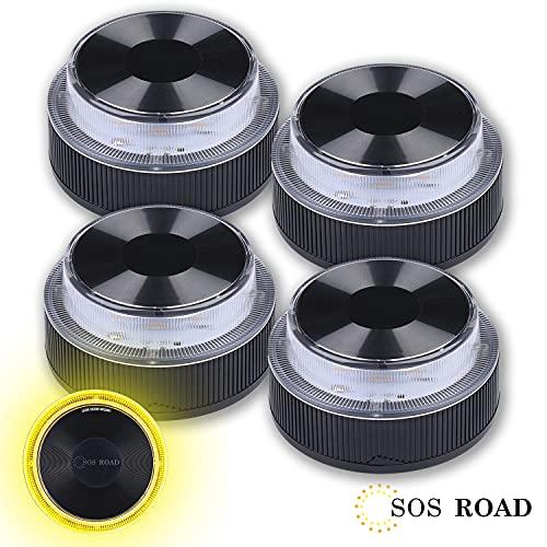 NK SOS Road - Baliza luz de Emergencia   Luz de Emergencia Autónoma   Luz LED   Señal V16 de Preseñalización de Peligro Homologada, Pilas Incluidas - (Autorizada por la DGT) - 4 Unidades