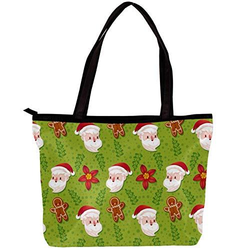 Vockgeng Sacs Hobo pour femmes Père Noël en pain d'épice Sacs à main en tissu sergé de mode Sac Hobo de grande capacité 30x10.5x39cm