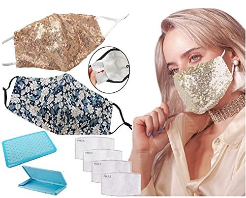 GOOGIT Mascherina Eleganti Donna Tessuti Facciale, Fodera 100% Cotone, Lavabile, Riutilizzabile per Adulto Protezione Viso (Set G)