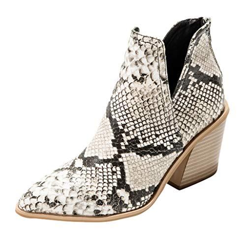 WUSIKY Geschenk für Frauen Stiefeletten Damen Bootsschuhe Boots Quadratische Spitze High Heel Fashion Stiefel mit kurzem Rohr und seitlichem Reißverschluss (Weiß, 38 EU)