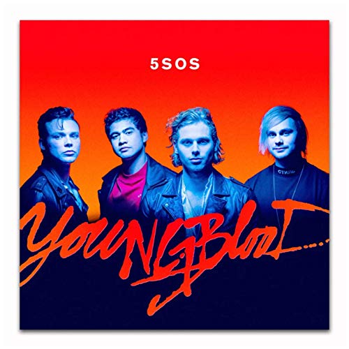 UNFIX 5 Second of Summer 5SOS Youngblood Punk Music Album Cover Poster and Prints Wall Art Canvas Prints Home Decor -24x24 Inch No Frame 1 PCS