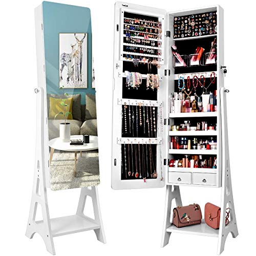 TWING Jewelry Cabinet Armoire Free Standing 6 LED Jewelry Armoire With Full Mirror, Jewelry Organizer, Mirrored Jewelry Cabinet, White