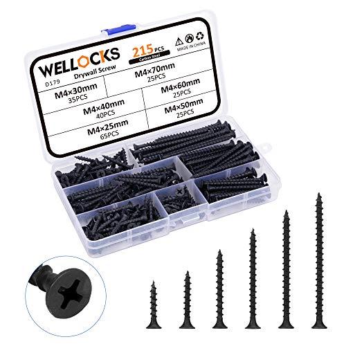WELLOCKS Drywall Screws 215 PCS M4×25mm to 70mm Wood Screws Self Tapping Assortment Steel Black Bugle Head Coarse Phillips Sharp Point Fast Drilling for Home Handmade Repair Installation(D179)