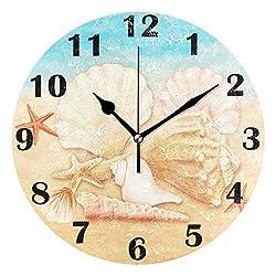 Pfrewn Summer Beach Seashell Starfish Wall Clock Silent Non Ticking Tropical Ocean Galaxy Clocks Battery Operated Vintage Desk Clock 10 Inch Quartz Analog Quiet Bedroom Living Room Home Decor