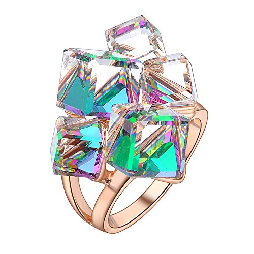dnswez Multicolor Change 3D Cubic Crystals Cluster Statement Cocktail Rings for Women(10)