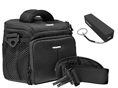 Camera foto tas ACTION BLACK set met powerbank acculader 2200 mAh voor Sony Alpha 5000 5100 6000 6300 HX400 HX90 HX60 RX10