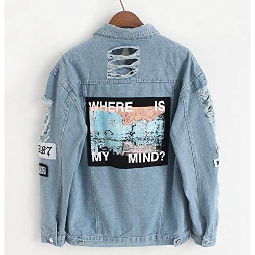 NZJK Bommeljacke aus Melimin, für Damen, mit Applikationen, bedruckt, wo ist mein Men? Dama Vintage Elegant Outwear Herbst Mode Mantel XL blau