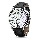 YAZOLE Luxuxoberseiten cuero reloj de la marca Moda esfera blanca de tres a seis donar Reloj de pulsera analógico Negro