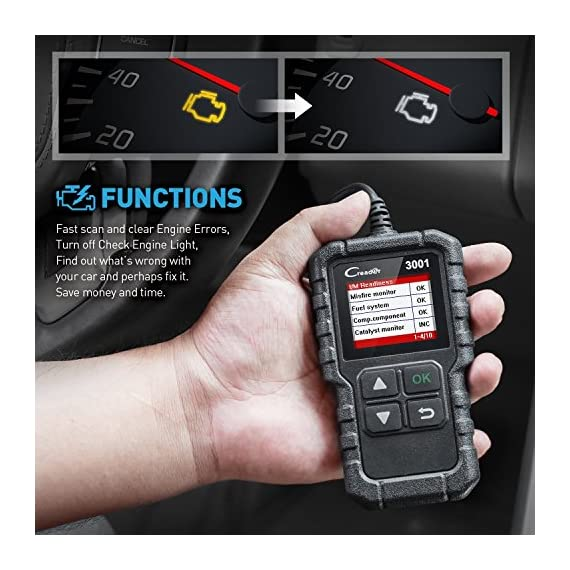 """LAUNCH Creader 3001 OBD2 Scanner Automotive Car Diagnostic Check Engine Light O2 Sensor Systems OBD Code Readers Scan… 5 : LAUNCH Creader 3001 obd2 scanner read and clear fault codes for engine system. In addition, Creader 3001 built in fault codes definition lookup library. LAUNCH Creader 3001 obd2 scanner works on most 1996 and newer US-based vehicles that are OBDII compliant (OBDII protocols: KWP2000, ISO9141, J1850 VPW, J1850 PWM and CAN). """"PLUG AND PLAY"""" scan tool, equipped with a 2. 5 feet long cable and made of a very thick flexible insulator, very easy to use for beginners. : You can use this obd2 scanner to check the status of emission-related monitors misfire system and fuel system, make sure the monitor was set before taking it to smog, help you pass the Smog Check easily, save your money for paying fine tickets. : Turns off the MIL , if you finished repairing the faulty components, then clear the fault codes and turn on the vehicle ignition, it is surprise that you will find the check engine light is off. And more, LAUNCH Creader 3001 obd2 scanner can read the car's information such as VIN number."""