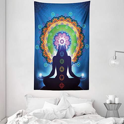 ABAKUHAUS Chakra Tapiz de Pared y Cubrecama Suave, Silueta de Mujer Haciendo Yoga con Efectos de Esfumado Vertical y Motivo de Red, No se Desliza de la Cama, 140 x 230 cm, Multicolor