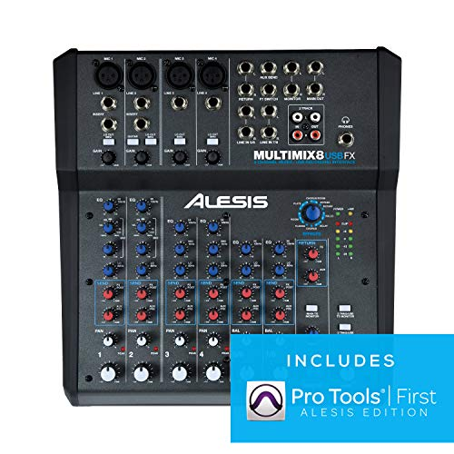 Alesis MultiMix 8 USB FX – 8 Channel Compact Studio Mixer with Built In...