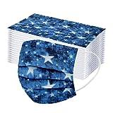 50 Stück Einmal-Mundschutz, Staubs-chutz Atmungsaktive Mundbedeckung, Erwachsene, Bandana Face-Mouth Cover Sommerschal (Blaue Sterne)