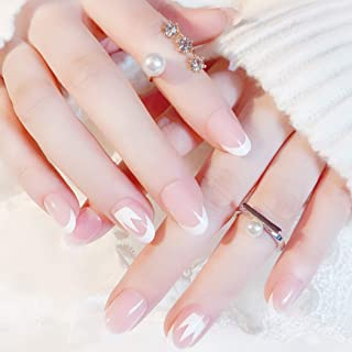 Sethexy 24Pcs French Nude Pink Glossy False Nails Crown Wedding Ins Style Oval Press on Full Cover Fake Nails for Women and Girls