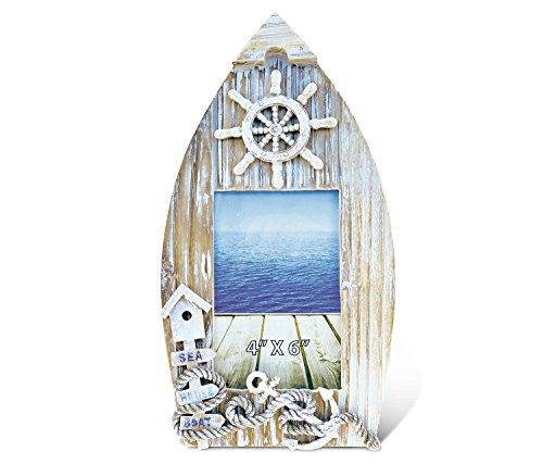 "Puzzled Wooden ""Baja Beach"" Boat Picture Frame, 4 x 6 Inch Sculptural Wood Photo Holder Intricate & Meticulous Detailing Art Handcrafted Tabletop Accent Accessory Coastal Nautical Themed Home Décor"