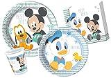 Ciao-Kit Tavola Baby Mickey & Donald persone 112 pezzi grandi, piatti medi, 24 bicchieri, 40 tovaglioli, Multicolore, Y4213