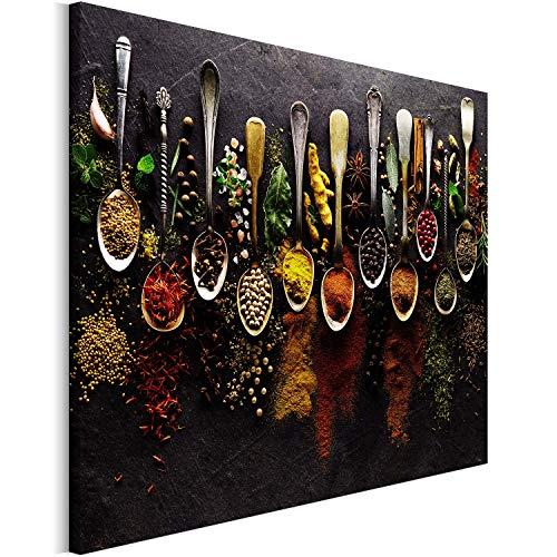 Revolio 120x80 cm Leinwandbild Wandbilder Wohnzimmer Modern Kunstdruck Design Wanddekoration Deko Bild auf Leinwand Bilder 1 Teilig - Gewürze Löffel braun bunt Mehrfarbig