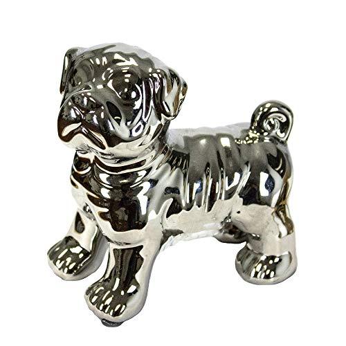 Sagebrook Home 10783 Ceramic Pug Dog Figurine, Silver Ceramic, 4.5 x 3 x 5 Inches