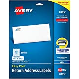 Avery Return Address Labels with Sure Feed for Inkjet Printers, 2/3' x 1-3/4', 1,500 Labels, Permanent Adhesive (8195), White