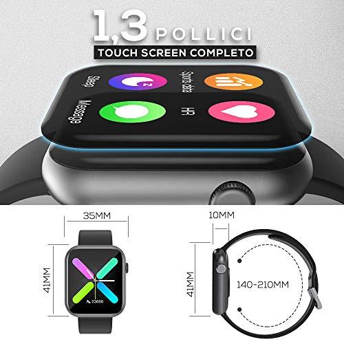 WWDOLL Smartwatch, Orologio Fitness Tracker Uomo Donna IP67 Cardiofrequnzimetro da Polso Contapassi e Calorie Activity Tracker Smart Watch Bluetooth per Android iOS (Nero)