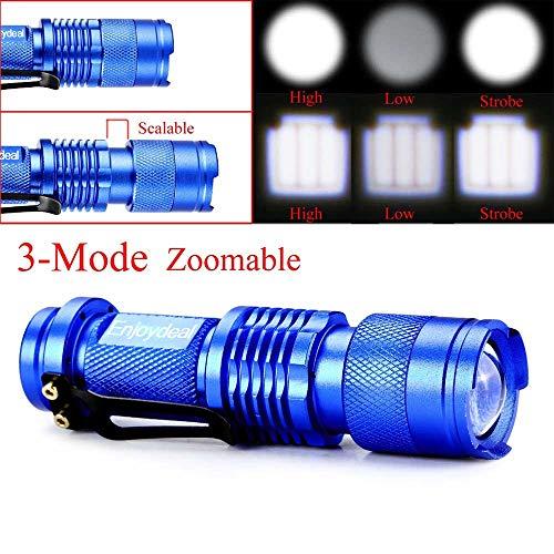 Lampe de poche LED Q5 portable Waterproo Zoomable 3 modes Super Bright 1200 lumens Lampe de poche pour camping extérieur Bleu