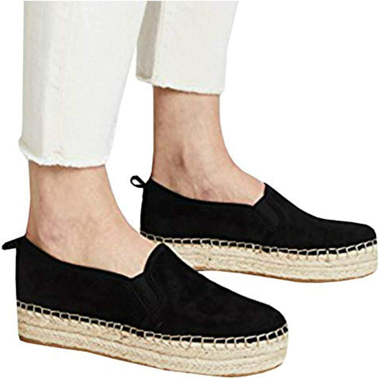 Women's Platform Espadrilles Slip on Round Toe Faux Suede Dress Casual Flat Boat shoes