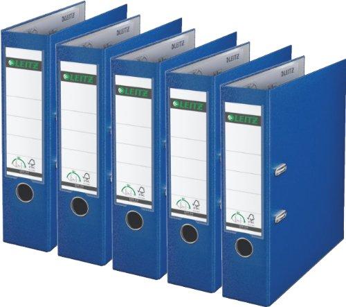 5er Sparpack Leitz 1010 Qualitäts-Ordner Plastik breit, mit patentierter 180º-Präzisionsmechanik (blau)