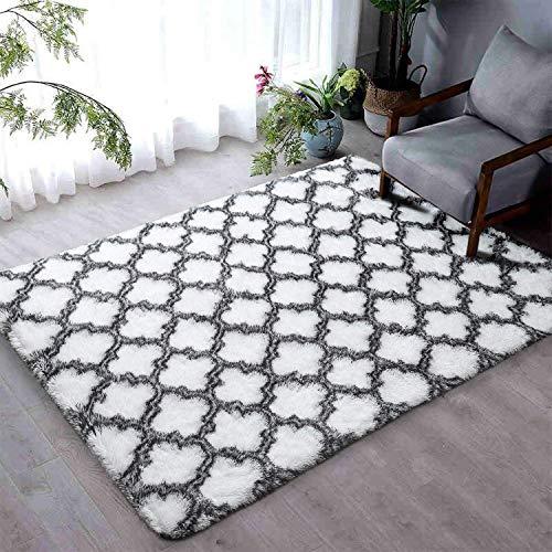 Leesentec Hochflor Teppich Wohnzimmerteppich Langflor - Flauschig Teppiche für Wohnzimmer und Schlafzimmer - Modern Design Shaggy Teppich (Weiß, 135 x 185 cm)