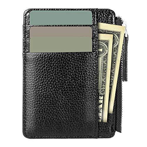 iwobi Portefeuille en Cuir,Etui RFID Blocage Porte Carte de Crédit Noir Zip Porte-Monnaie